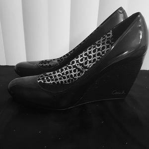 COACH: Black Patient Leather Wedge Heel Shoes